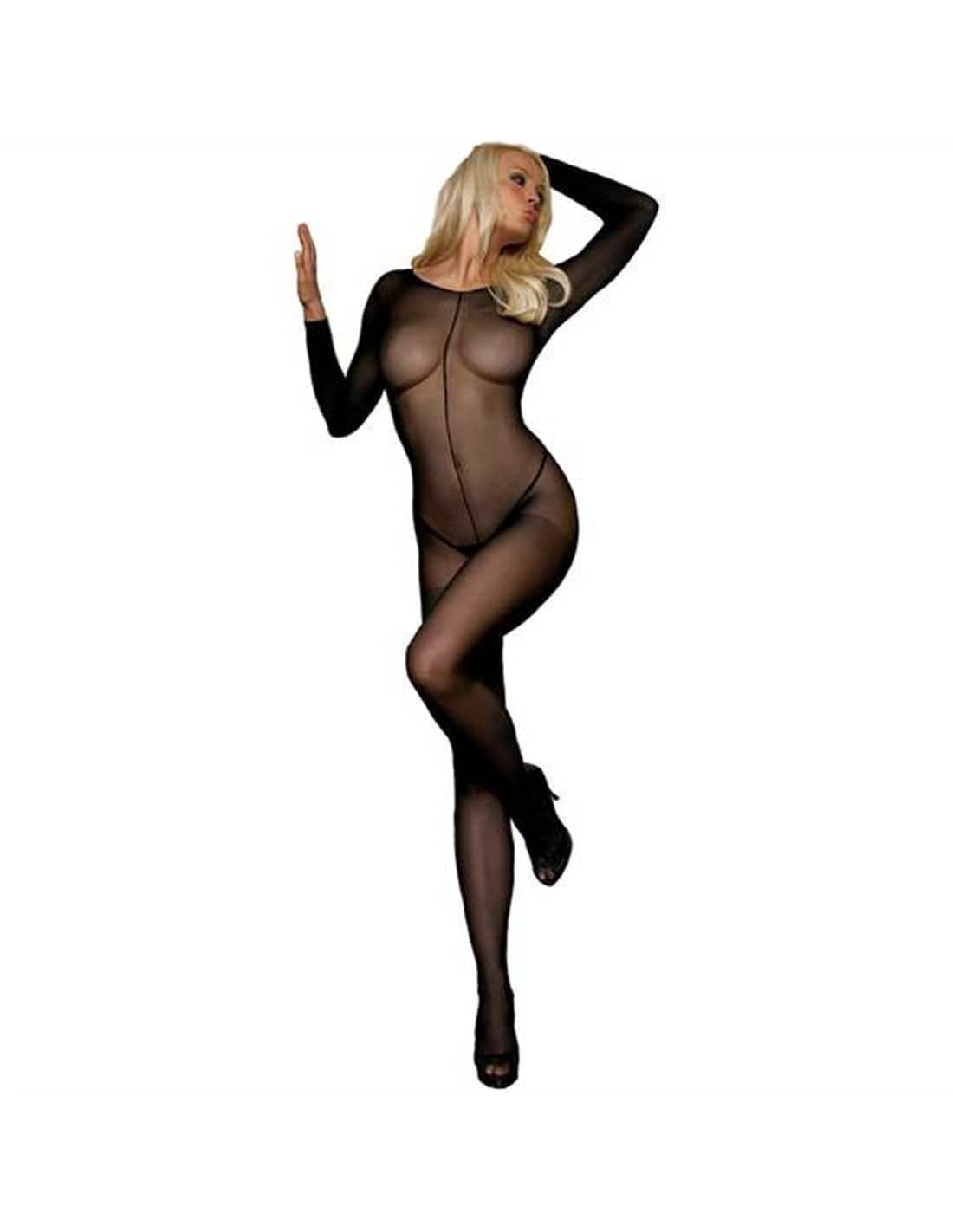 Catsuit Preto Translúcido Com Costura Frontal - Único - PR2010304607