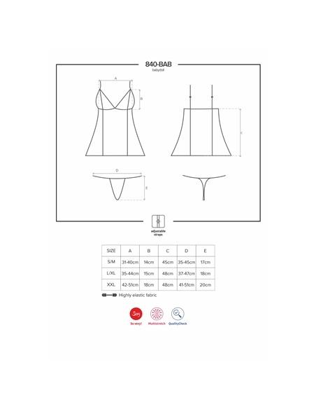 Camisa de Noite e Tanga 840-Bab Obsessive Preta - 36-38 S/M #3 - PR2010352356