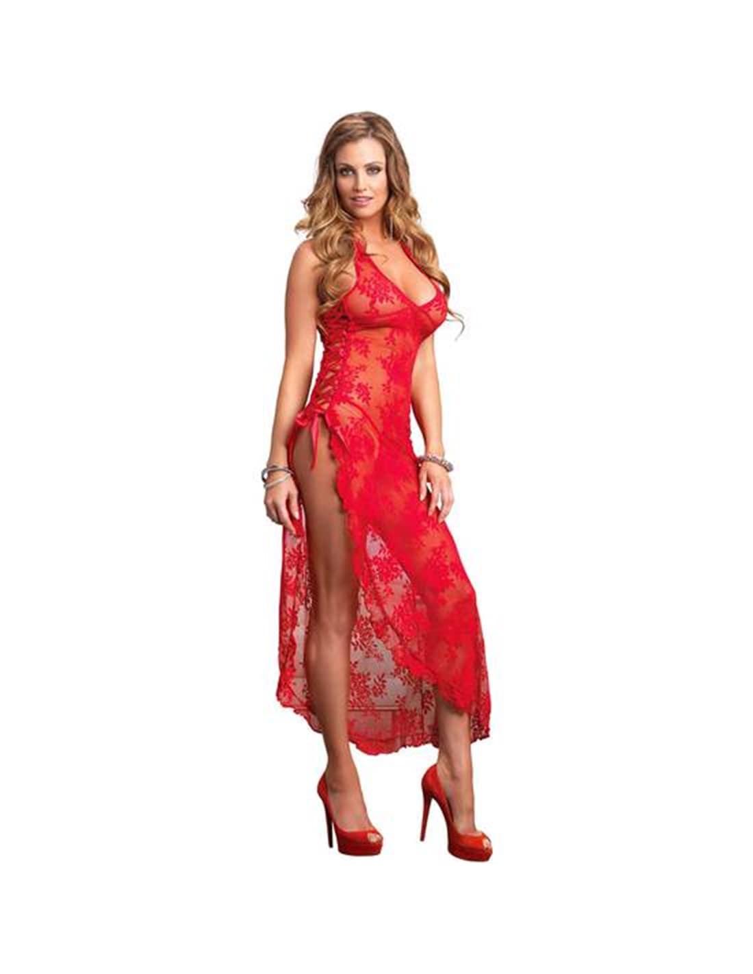 Camisa De Noite Comprida Com Padrão Floral - Vermelho - Único - PR2010326047